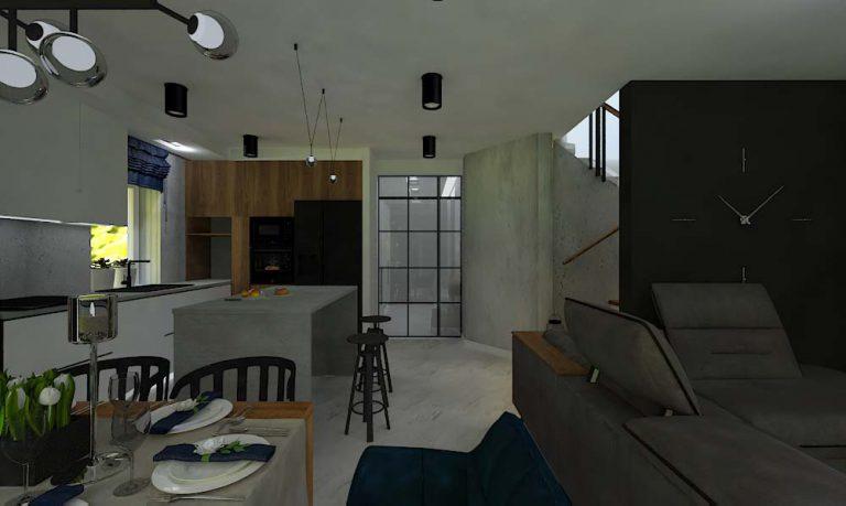 Projekt wnętrz domu w zabudowie szeregowej na Kiełczowie