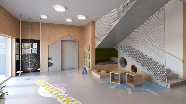 Projekt wnętrz prywatnej szkoły Łobuziaki we Wrocławiu. Współpraca  - P71 Małgorzata Kadłubowska